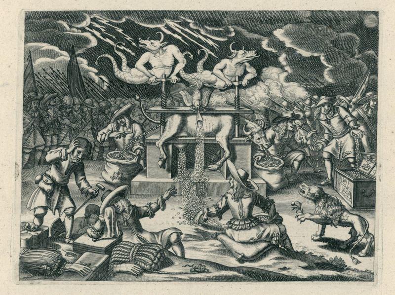 Uitsnede prent 'Een Nacht-gesicht, Waar in vertoont word Den Geparsten Koe' (1672). De twee duivels zijn de gebroeders De Witt. (Rijksmuseum Amsterdam)