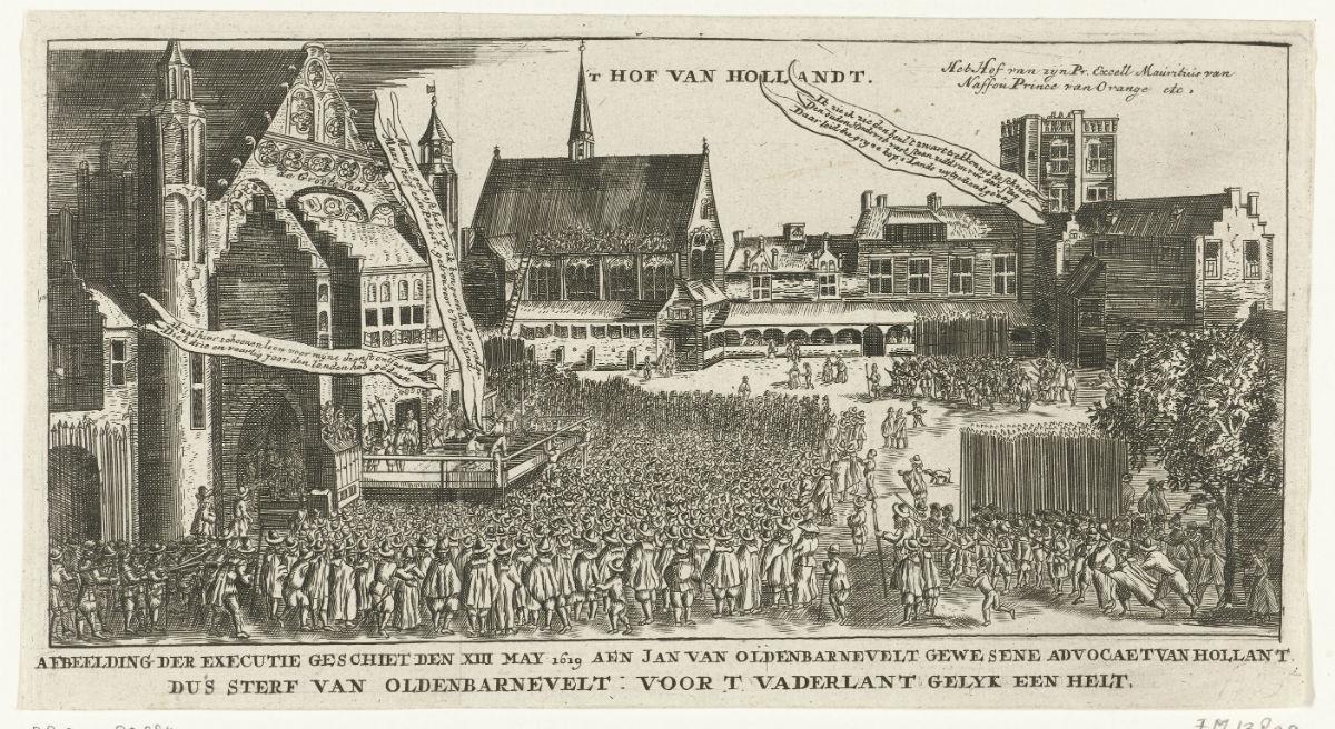Ridderzaal Binnenhof executie Oldebarnevelt 13 mei 1619