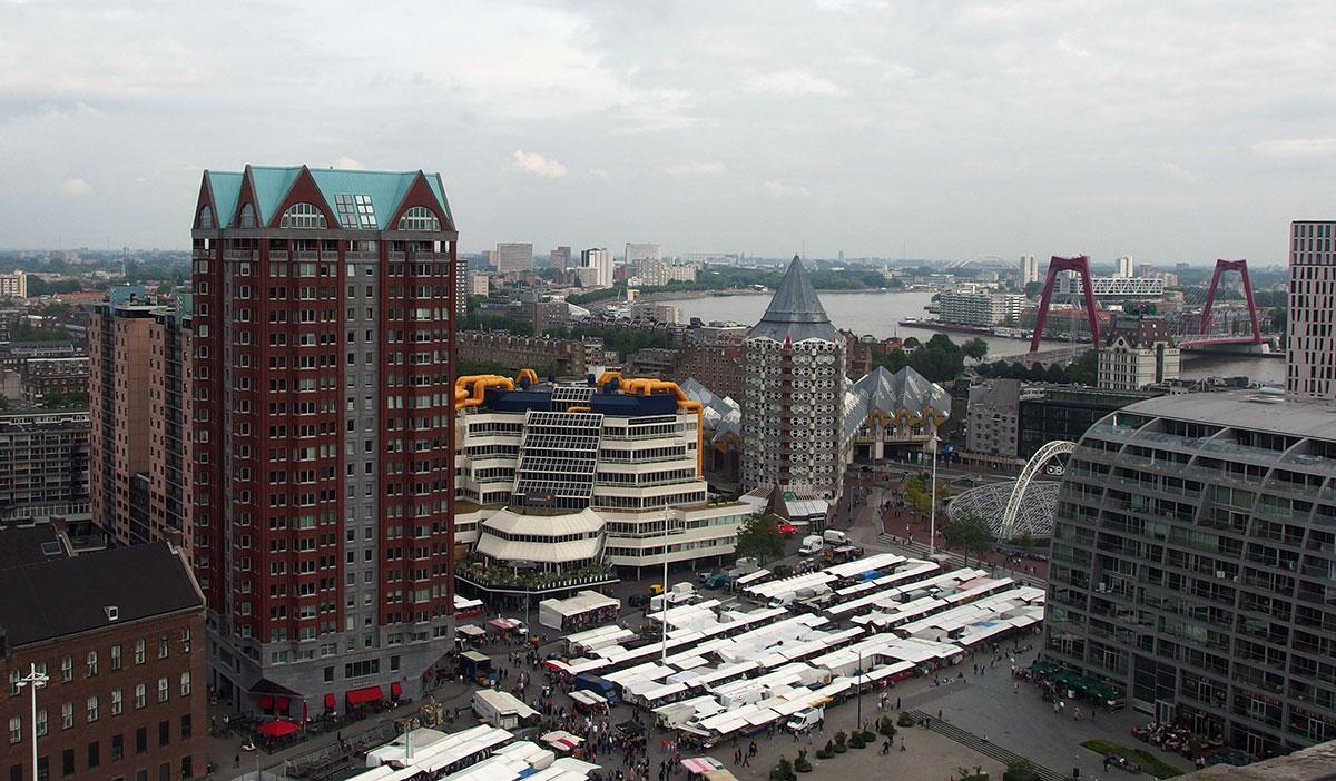 Uitzicht Rotterdam Dakendagen Laurenskerk Centrale Bibliotheek kubuswoningen markt Potlood