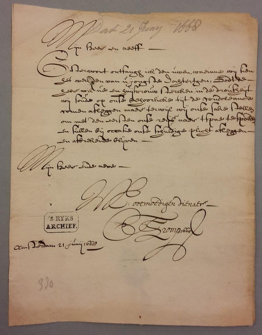 Cornelis Tromp correspondentie Johan de Witt