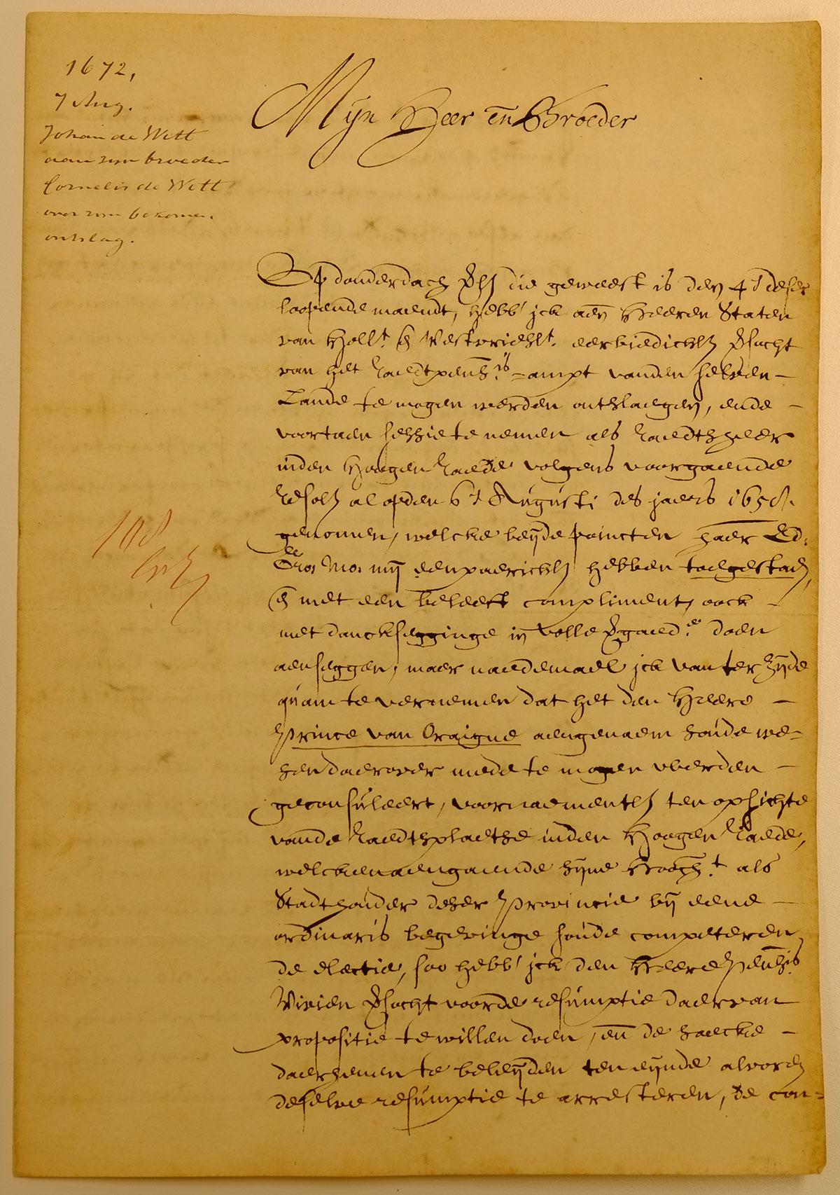 Johan de Witt ontslag raadpensionaris brief Cornelis de Witt Rampjaar 1672